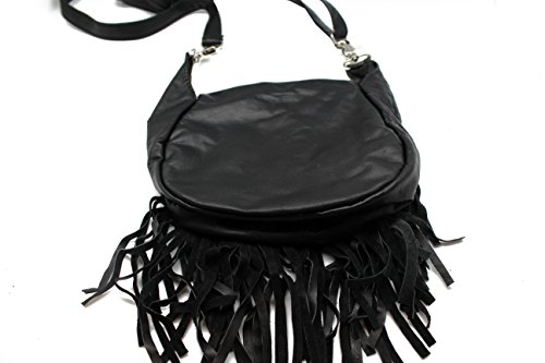 Black Fringe Loop Hip Pouch Red Indians Genuine Leather Boho Cross Body Hip Fanny Bag by Juzar Tapal Collection (Image #4)