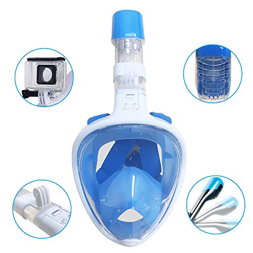 - CESTLAVIE 180° Full Face Snorkel Mask- Flat Folding Full Dry Diving Mask, Panoramic View with Camera Mount and Ear Plug, Anti-Fog Anti-Leak Snorkeling Design for The Size L Number, Blue