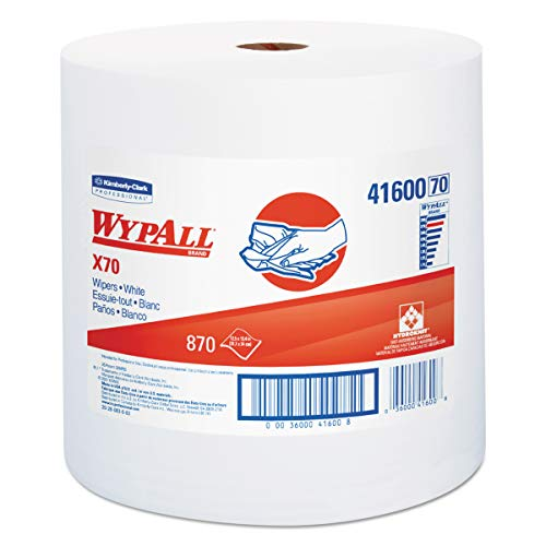 (WypAll 41600 X70 Cloths, Jumbo Roll, Perf., 12 1/2 x 13 2/5, White, 870 Towels/Roll)