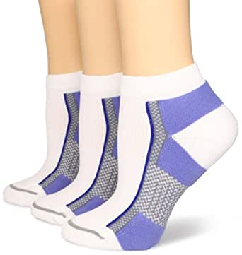 Wrightsock Women's X Fit Lo 3 Pack Athletic Socks, White/Ocean, Small