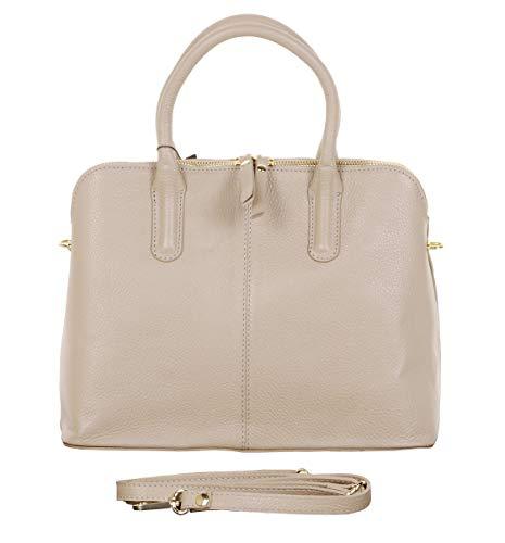 Primo Sacchi Italian Textured Leather Light Beige Bowling Style Tote Grab Bag Shoulder Bag Handbag