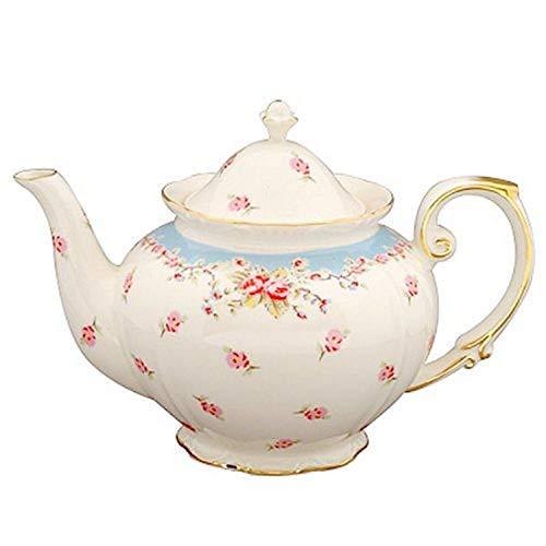 Gracie China Vintage Blue Rose Porcelain 5-Cup Teapot