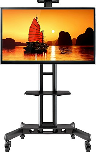 ONKRON Mobile TV Cart TV Stand w/Mount for most 32 to 65'' Flat Screens up to 100 lbs TS15-51 Black
