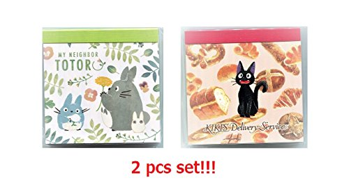 Movic Studio Ghibli My Neighbor Totoro & Kiki's Delivery Service Memo Pad 2 pcs set Colorful Leaf & Bread - Kiki Pad
