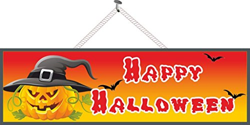 Happy Halloween Holiday Sign in Orange with Scary Pumpkin, Bats & Black Witch Hat - Fun Sign Factory Original Halloween Decoration -