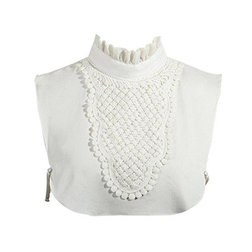 Joyci Simple Ruffles Fake Collar Detachable Dickey Collar Clothes Accessory (B White)