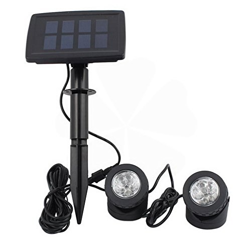 Black Solar Power 12 LEDs Landscape Spotlight Projection Light w 2 Submersible Lamps for Garden Pool Outdoor Decoration Lighting Underwater Light By FemiaD by FemiaD