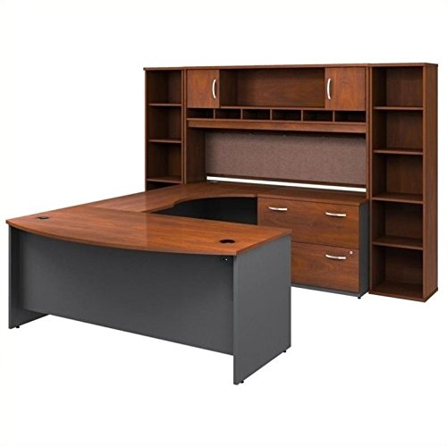 Bush Furniture Corsa Series U-Shape Office Suite in Hansen Cherry by Bbf