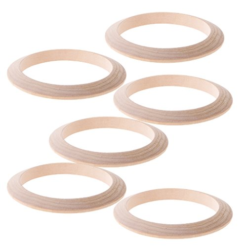 Jili Online 6 Pieces 9mm Width Unfinished Natural Wood Wooden Blank Cuff Bracelet Bangle DIY Jewelry Gifts