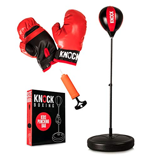 Knock Boxing - Punching Bag for Kids - Boxing Set Includes Gloves & Pump - Adjustable Height with Stand - Great Gift Idea for Boys or Girls