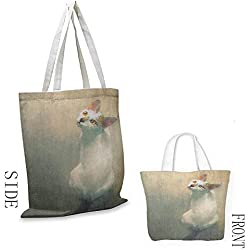 zojihouse Cat Canvas Travel Bag Young Kitten Looking Up Watercolor Composition of House Pets Brush Marks Effect W13.5xL16 Beige White Teal