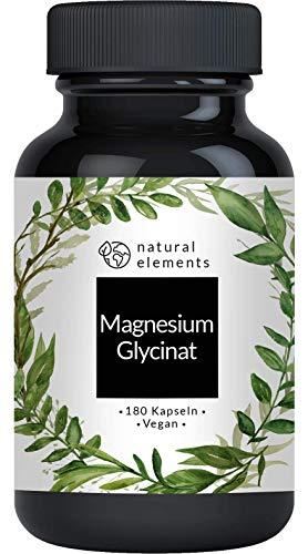 Magnesiumglycinat - Premium: Chelatiertes Magnesium - 180 Kapseln - 100mg elementares Magnesium pro Kapsel - Laborgeprüft, vegan, hochdosiert und hergestellt in Deutschland