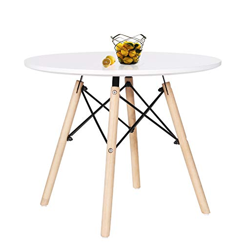 VECELO Kids Mid Century Dining Table Multifunctional Round Leisure Mini Style Tables for Bedroom, Playroom, Dining Room