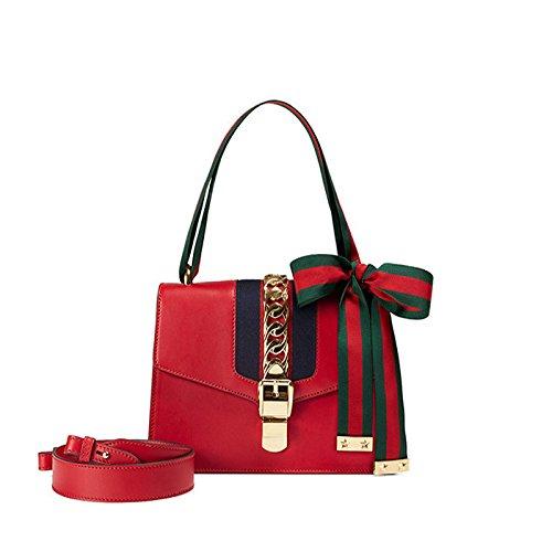 en Red Femmes à en h l 9 cuir à 16cm la bandoulière cuir bandoulière à Sac véritable Sac à mode w main 25 tqawa5xr