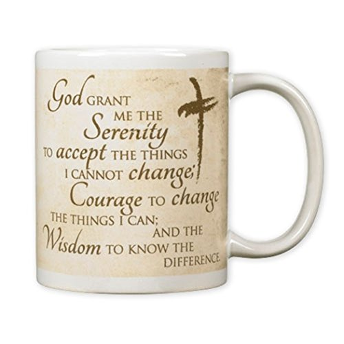 Serenity Prayer Mug - Ceramic Mug with Serenity Prayer and Cross Design, 10 oz