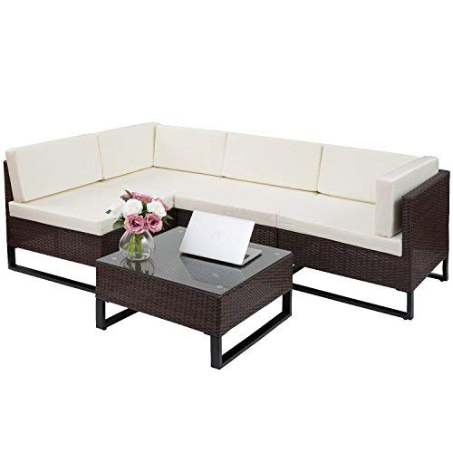 Indoor Patio Furniture - Merax 5 PC Indoor/Outdoor Wicker Sofa Cushioned Seating Sectional Set Garden