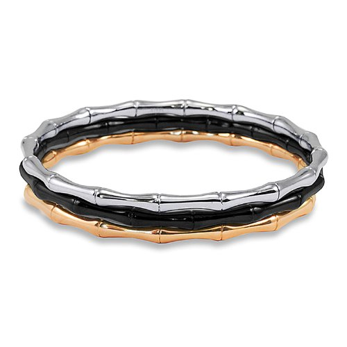 (West Coast Jewelry Women's Tri-Color Stainless Steel Bamboo Design Bangle Bracelets)