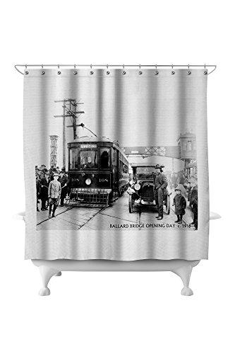 Ballard - Seattle, WA - Ballard Bridge Opening Day (71x74 Polyester Shower Curtain) ()