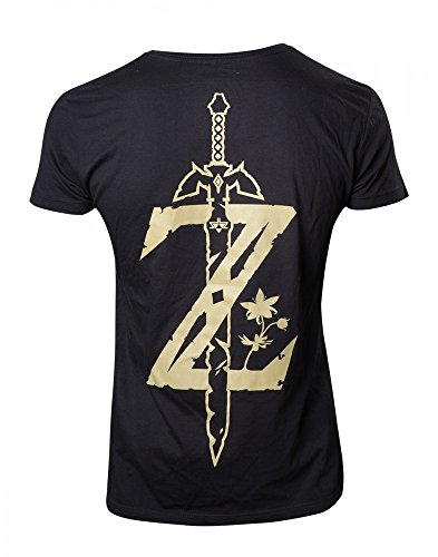 Zelda Nintendo Original Breath of the Wild Unisex T-Shirt Golden Game Logo Schwarz 100% Baumwolle