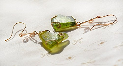 Gold Filled, Chunky, Green, Roman Glass Earrings. Very Long Ancient Glass Earrings.