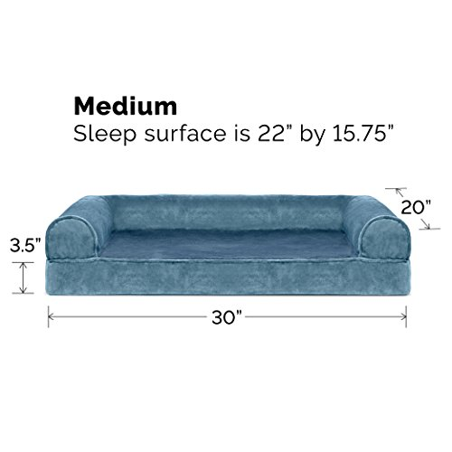 Image of FurHaven Pet Dog Bed | Orthopedic Faux Fleece & Chenille Sofa-Style Couch Pet Bed for Dogs & Cats, Harbor Blue, Medium