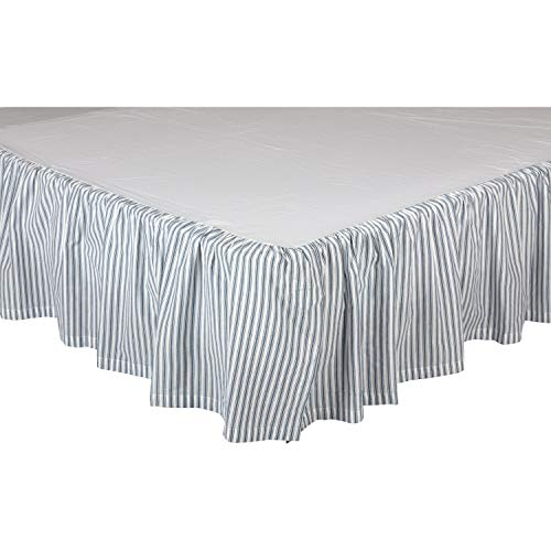 VHC Brands Farmhouse Sawyer Mill Ticking Cotton Split Corners Gathered Striped Queen Bed Skirt Blue Denim