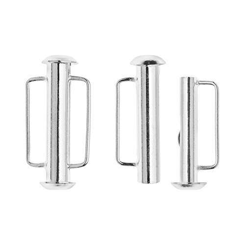 Silver Slide Jewelry Set (Slide Tube Clasps, with Bar Loops 21.5x10.5mm, 2 Sets, Silver Plated)