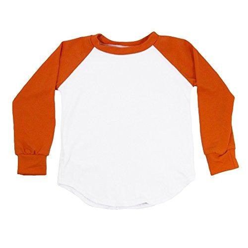 Tone Raglan T-shirt (Dress Up Dreams Boutique Unisex Baby Orange Two Tone Long Sleeve Raglan Baseball T-Shirt 12-18M)