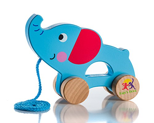 Wooden Pull Along Elephant Toy - Beautiful Elephant Pull Along Toy for Baby Boy & Girl - The Best Toy for 1-Year Olds and up- Outdoor & Indoor Toy for Babies & Toddlers- Child Safe Toy