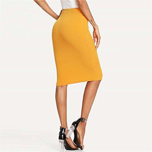 Haute lgante Genou Gingembre Jupe Ginger Bouton Moulante Crayon Femmes Taille Double Longueur Bangyin Jupe Solide Jupe Travail D't OL YqFTUxw