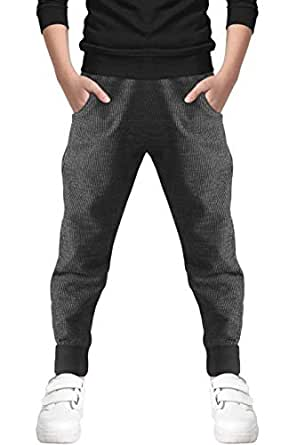 Welity Kids Cotton Pull On Sweatpants Jogger Pants for Big Boys, Black, Size (4T-5T) 4-5 Years = Tag 120