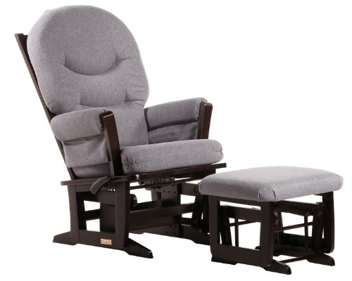 Dutailier Modern Glider-Multi-Position Recline and Nursing Ottoman Combo, Espresso/Dark Grey
