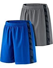 ATHLIO 2 Pack Men's Active Shorts, Gym Training Workout Shorts, Quick Dry Mesh Athletic Shorts with Pockets