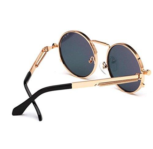 europeo de d Gafas Gafas redondas Gafas de y marco Opcional mujer F RDJM estilo sol para Multicolor americano metálico sol para WYzHqcw7