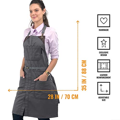 Adjustable for Men and Women Hair Stylist Under NY Sky No-Tie Armor Gray Apron Baker Pro Barber Durable Twill with Leather Reinforcement Barista Split-Leg Tattoo Server Apron Bartender