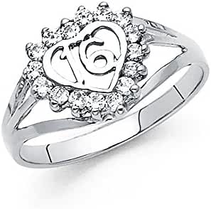 14K Solid White Gold Hearts Cubic Zirconia Sweet Sixteen Ring