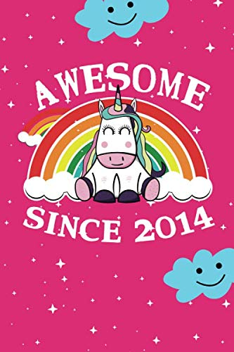 Awesome Since 2014: cute unicorn happy birthday journal for 5 years old birthday girls. Best unicorn lovers idea for 5th birthday party.