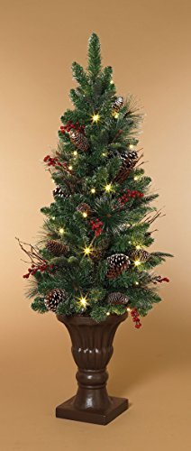 48'' Cordless Pre Lit LED Holiday Entryway Tree in Urn with Cones, Berries and Timer by AC