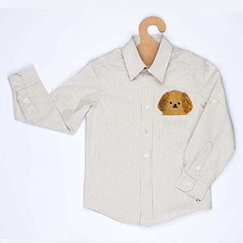 Camisa Perrito, 4 a 5 años, Manga larga, Bordada a Mano, Pieza Única, Ropa Niño, Regalo niño