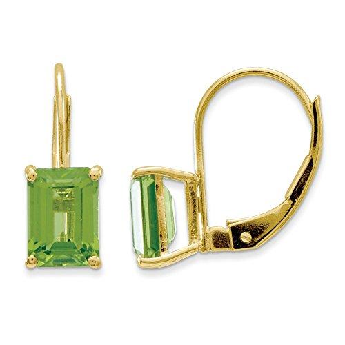 14kt Yellow Gold 7x5mm Emerald Cut Peridot Leverback ()