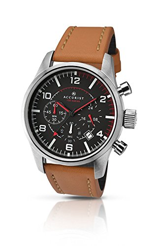 Accurist Men's Quartz Watch Black Dial Chronograph Brown Leather Strap 7022
