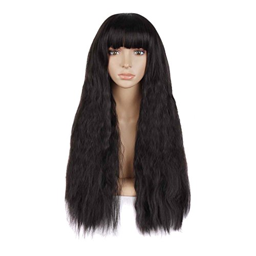 MapofBeauty 28 Inch/70cm Beautiful Womens Flat Bang Long Wave Curly Wig (Black)