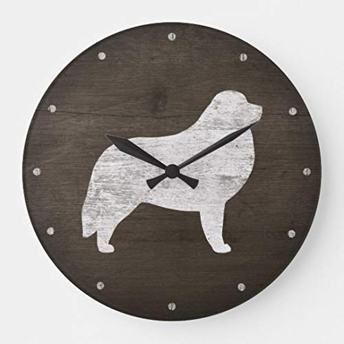 Great Pyrenees Silhouette Rustic Modern Simple Wooden Wall Clock Silent Non-Ticking Clock for Living Room Home Office 12 Inches -