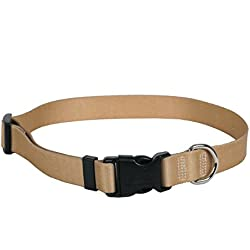 """Yellow Dog Design Tan Simple Solid Dog Collar with Tag-A-Long ID Tag System-Small-3/4"""" and fits Neck 10 to 14"""""""