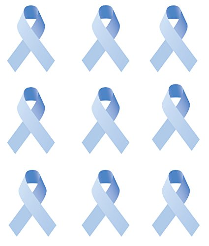 Prostate Cancer Fabric Blue Ribbon on White 737