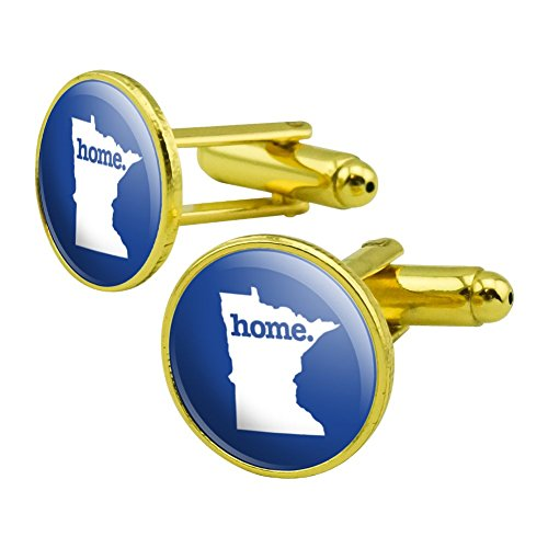 Minnesota MN Home State Solid Navy Blue Officially Licensed Round Cufflink Set Gold (Solid Gold Cufflinks)