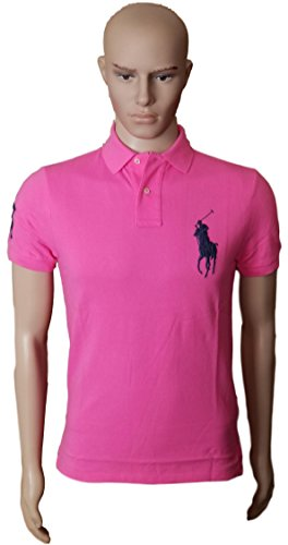 Polo Ralph Lauren Mens Custom Fit Big Pony Mesh Shirt (M, ShockingPink) (Custom Fit Polo)