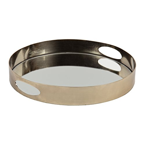 Kate and Laurel Angeline Modern Luxe Decorative Round Mirror Tray in Polished Gold Metal, 15-inch Diameter x 2-inches High