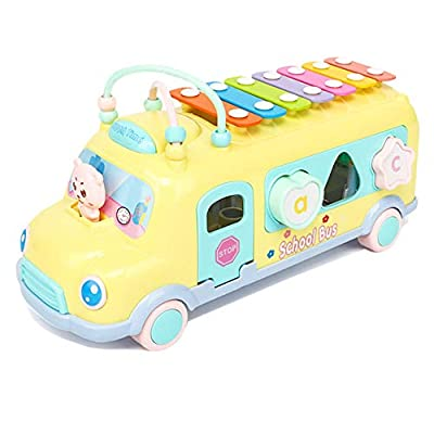 JAMOR Hand Knock on The Piano Toy Car Eight-Tone Piano Toy Puzzle early Education Toy Children's Music Toy Beat The Instrument Push-Pull Bus Toy Car Building Block Toy (Yellow): Office Products
