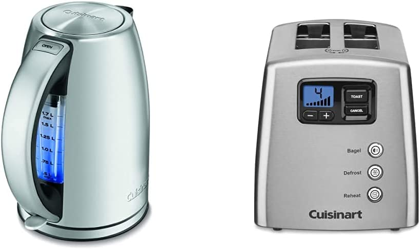 Cuisinart JK-17 Cordless Electric Kettle, 1.7 Liter, Stainless Steel & CPT-420 Touch to Toast Leverless 2-Slice Toaster, Brushed Stainless Steel